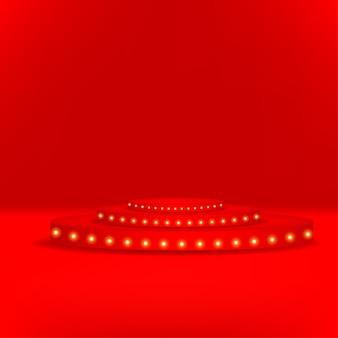 Современный подиум на красном фоне
