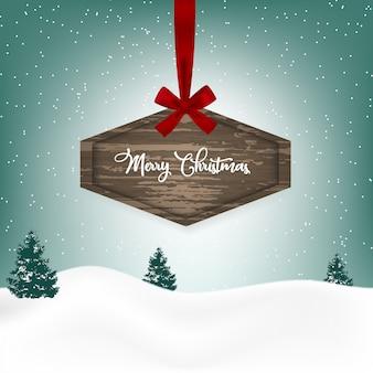 木製の看板とクリスマスの背景