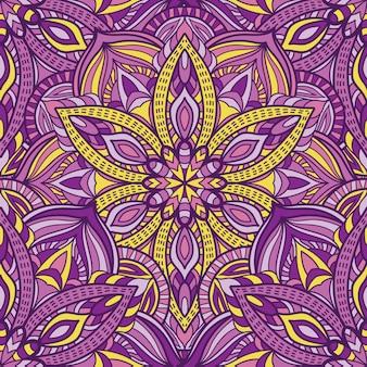 印刷用マンダラシームレスパターンデザイン。部族の飾り。