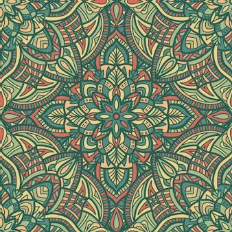 マンダラのシームレスなパターン背景。部族の飾り。