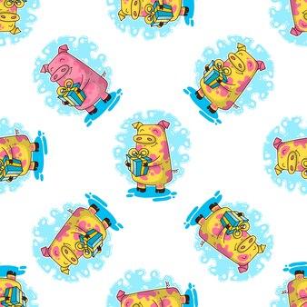 豚と新年のシームレスパターン