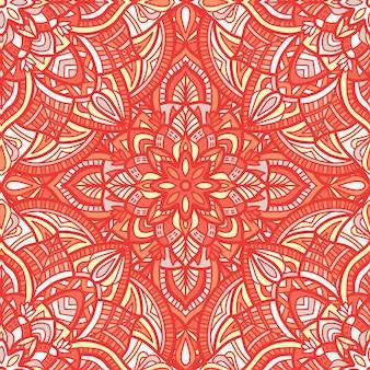 マンダラベクターのシームレスなパターン。部族の飾り。