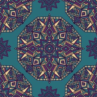 マンダラのシームレスなパターンのベクトルの背景