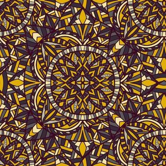 マンダラのシームレスなパターン。部族の飾り。