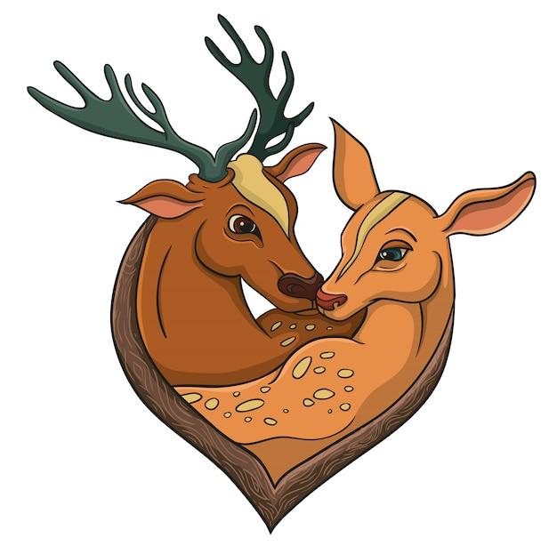 鹿について幸せなバレンタインのためのベクトル図