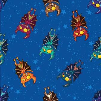 ハッピーハロウィンのかわいい手描き部族バットパターン