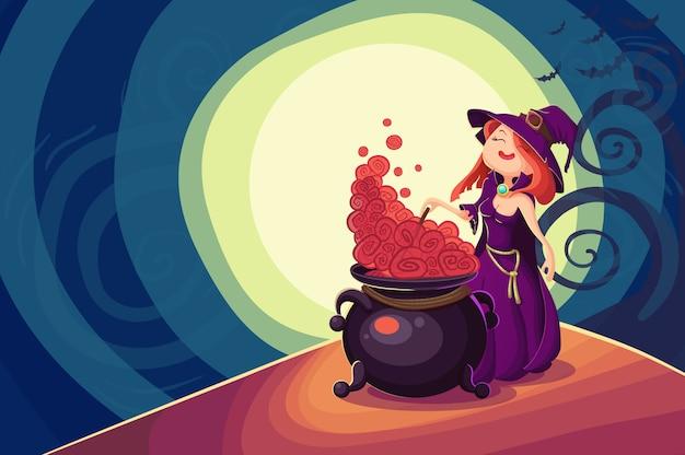 かわいい若い魔女ハロウィーンカード