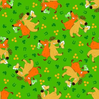 キツネとアイルランドのシンボルと聖パトリックの日のパターン