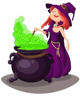 ハロウィーンのかわいい若い魔女