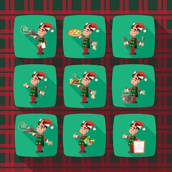 クリスマスと新年のパーティーのための漫画エルフ