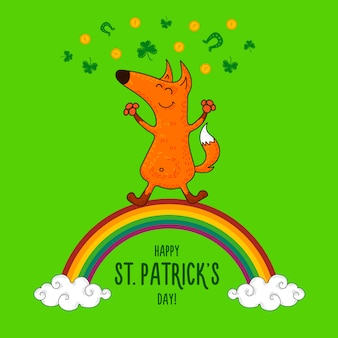 Открытка ко дню святого патрика с лисой и ирландскими символами