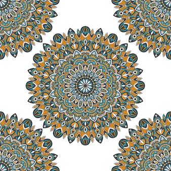 マンダラベクトル部族ビンテージ民族シームレスな印刷用パターン