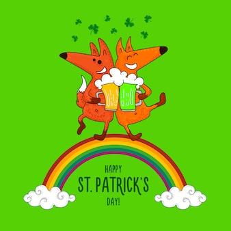 Открытка ко дню святого патрика с лисами и ирландскими символами
