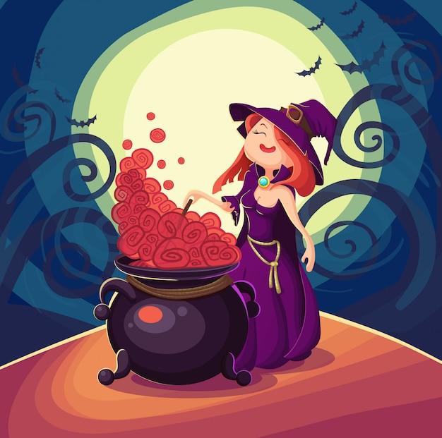ハロウィンカードのためのかわいい若い魔女。