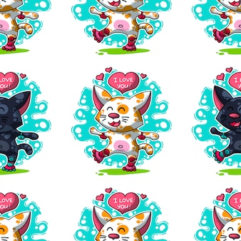 Вектор бесшовные модели о кошках в любви