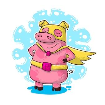 豚と新年イラスト