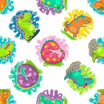 クールな恐竜落書きベクトルパターン