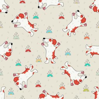 犬とかわいい落書きシームレスパターン