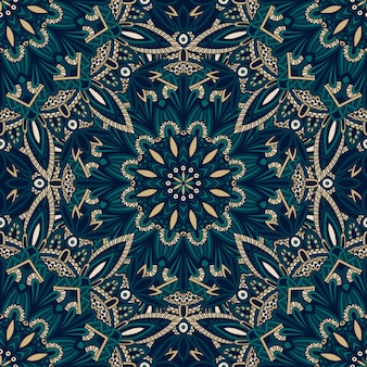 布や紙に印刷するためのシームレスな部族のマンダラパターン。