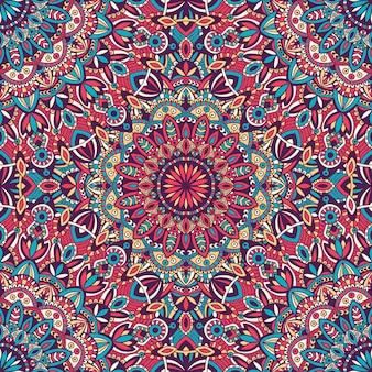 マンダラベクトル部族ビンテージ民族シームレスパターンの印刷