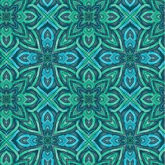 抽象的な花とベクトル自然シームレスパターン。