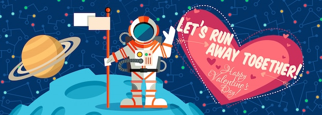 バレンタインデーのための宇宙についてのベクトル図。