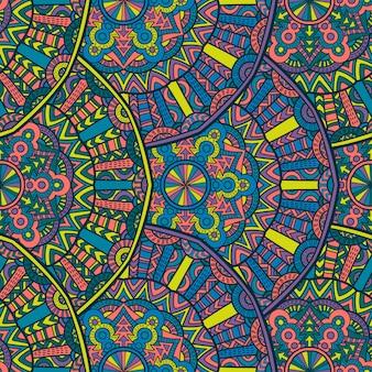 印刷用のマンダラビンテージデザイン。部族の飾り。