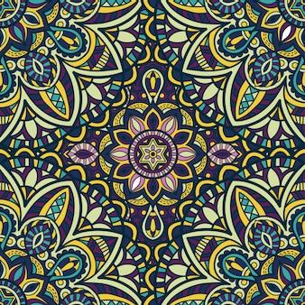 壁紙のマンダラシームレスパターンベクトルデザイン。部族の飾り。