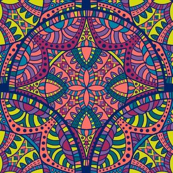 壁紙の多色マンダラシームレスパターンベクトルデザイン。部族の飾り。
