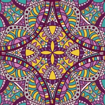 シームレスパターン壁紙印刷用マンダラベクトルデザイン。部族の飾り。
