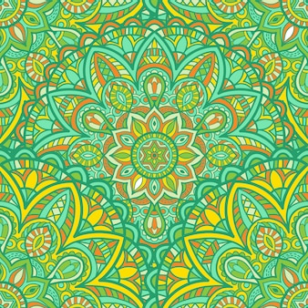 マンダラ印刷のためのシームレスなパターンベクトルデザイン。部族の飾り。