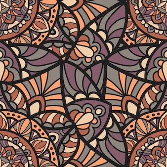 印刷のためのシームレスなパターンマンダラベクトルデザイン。部族の飾り。