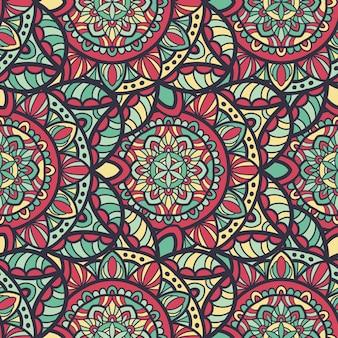 印刷用のシームレスパターンマンダラベクトルデザイン。部族の飾り。