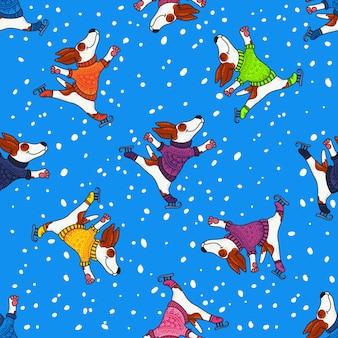 カラフルなセーターの犬との冬の挨拶デザイン