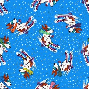 カラフルなセーターの犬との冬の挨拶デザインはスキーです。