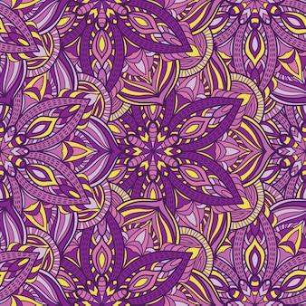 印刷用マンダラシームレスパターン設計。部族の飾り。