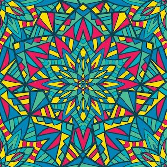 シームレスパターン印刷用マンダラベクトルデザイン。部族の飾り。