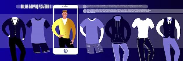 オンラインショッピング。リンク先ページの紳士服のインターネットストアまたは広告バナーレイアウトのモックアップ