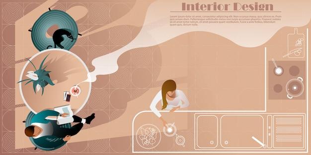 モダンなキッチンのインテリアデザインのトップビュー。レイアウトランディングページのベクトルモックアップ