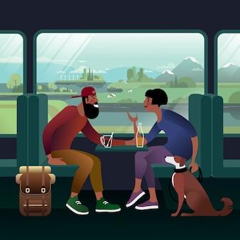 バックパックと犬を連れた若いカップルが全国を電車で旅します。列車の窓の眺め。