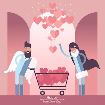 Милая влюбленная пара с корзиной для покупок и воздушными шарами в форме сердечка