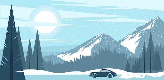 冷ややかな冬の山々の背景ビュー。