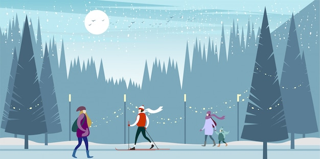 凍るような日に冬の都市公園へのスキー旅行。
