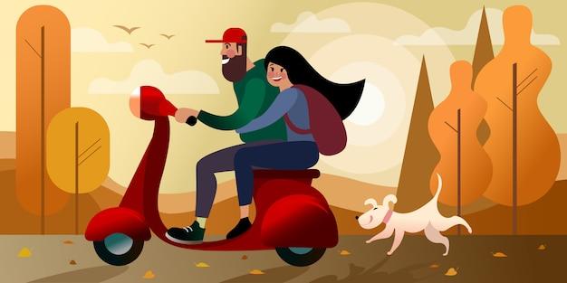 女の子と秋のスクーター旅行。都市通りのシーン。 。