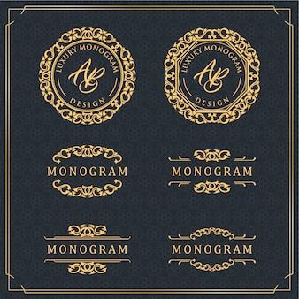 豪華な黒の背景を持つ金の装飾デザインのエレガントなセット