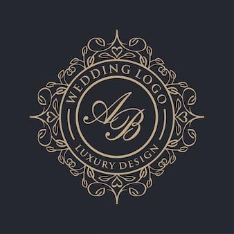 結婚式のための豪華なロゴ
