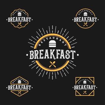 レストランやカフェの朝食ロゴセット