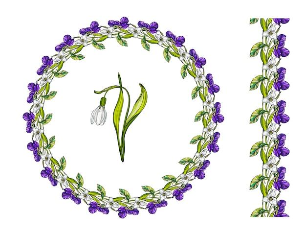 春の花と花の花輪。