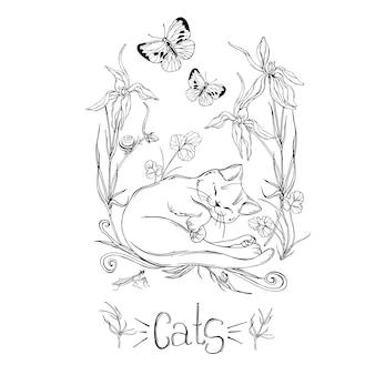 昆虫と野の花とグラフィックの猫