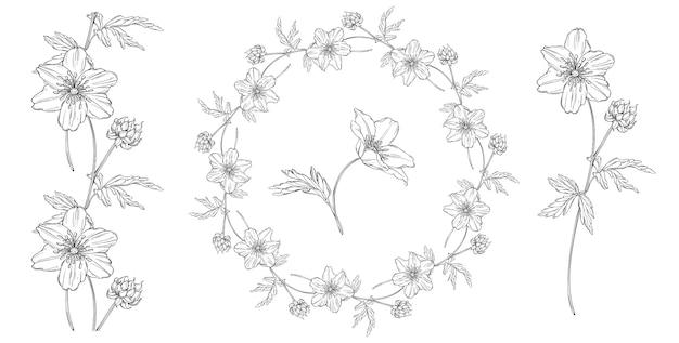 アネモネの花入り花の黒と白の組成
